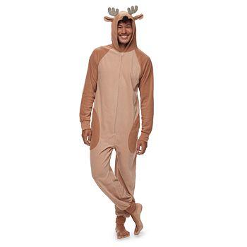 Men's Jammies For Your Families Reindeer 3D Antler One-Piece Fleece Pajamas