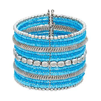 Mudd® Blue Seed Bead Multi Row Cuff Bracelet