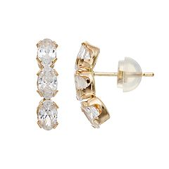 Renaissance Collection 10k Gold Cubic Zirconia Oval Drop Earrings