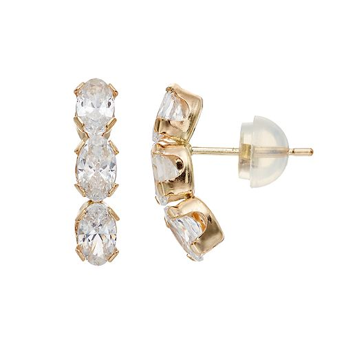 Renaissance Collection10k Gold Cubic Zirconia Oval Drop Earrings