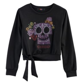 Disney D-Signed Coco Girls 7-16 Embellished Skull Graphic Tie-Front Top