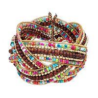 Mudd® Wood Bead Braided Cuff Bracelet
