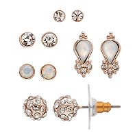 LC Lauren Conrad Inverted Teardrop & Fireball Nickel Free Stud Earring Set