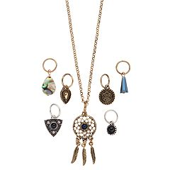 Mudd® Dream Catcher, Teardrop & Triangle Interchangeable Charm Necklace Set