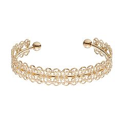LC Lauren Conrad Gold Tone Filigree Cuff Bracelet