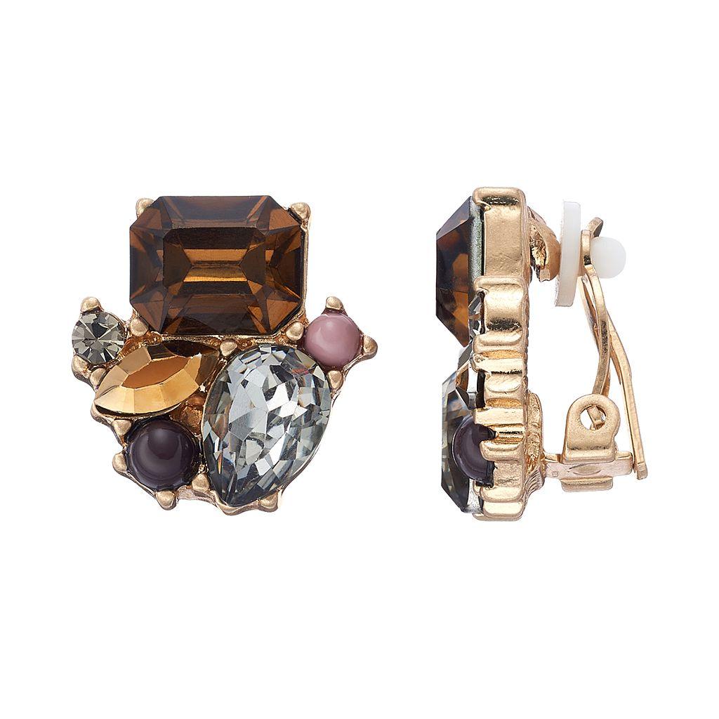Simply Vera Vera Wang Geometric Stone Cluster Nickel Free Clip On Earrings