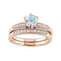 10k Rose Gold Aquamarine & 1/3 Carat T.W. Diamond Engagement Ring Set