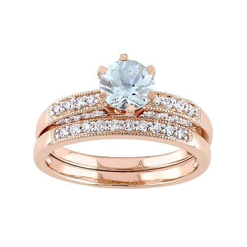 Stella Grace 10k Rose Gold Aquamarine & 1/3 Carat T.W. Diamond Engagement Ring Set