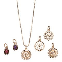 Mudd® Openwork Disc & Teardrop Charm Necklace Set