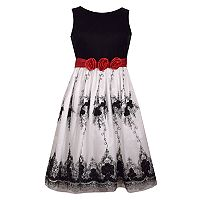 Girls 7-16 & Plus Size Bonnie Jean Velvet & Embroidered Mesh Dress