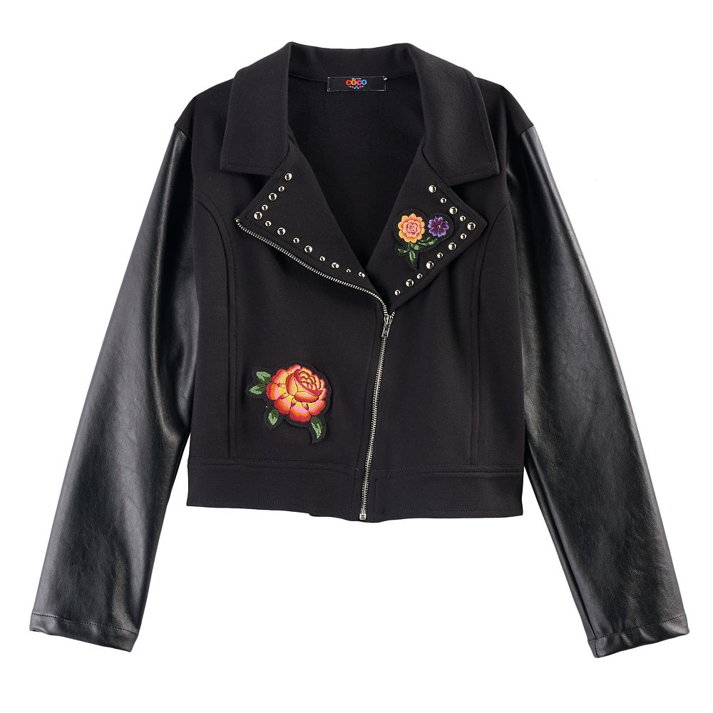 D-Signed Coco Girls 7-16 Floral Applique Faux-Leather Moto Jacket