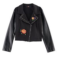 Disney D-Signed Coco Girls 7-16 Floral Applique Faux-Leather Moto Jacket