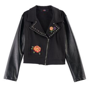 Disney D-Signed Coco Girls 7-16 Floral Applique Faux-Leather Moto Jacket