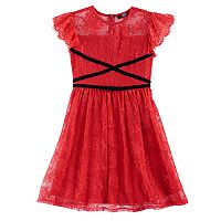 Disney D-Signed Coco Girls 7-16 Lace Velvet Trim Dress