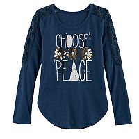 Girls 7-16 & Plus Size Mudd® Pieced Lace Graphic Tee