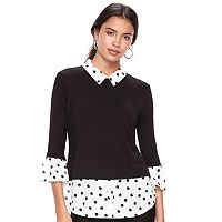 Women's ELLE™ Mock-Layer Bell Sleeve Top
