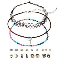 Mudd® Dream Catcher Choker Necklace & Owl Stud Earring Set