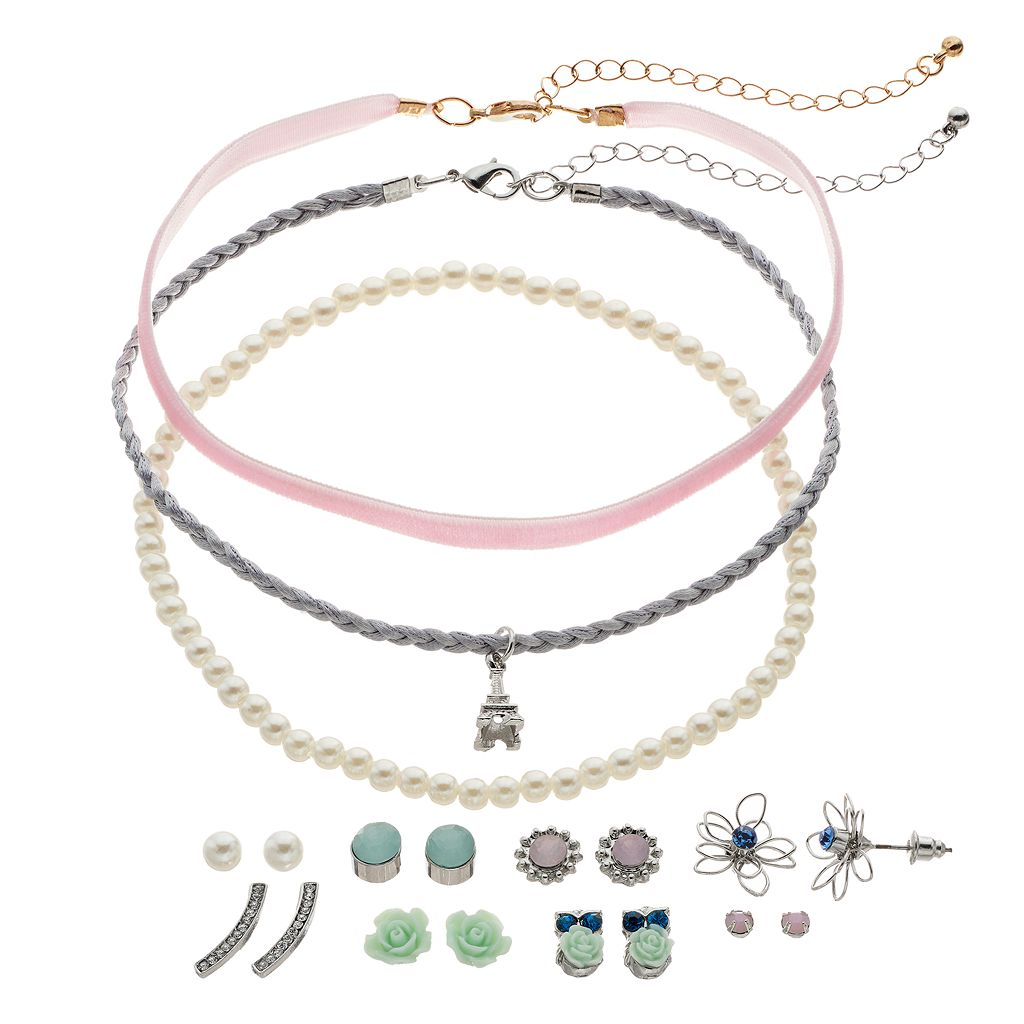 Mudd® Eiffel Tower Choker Necklace & Flower Stud Earring Set