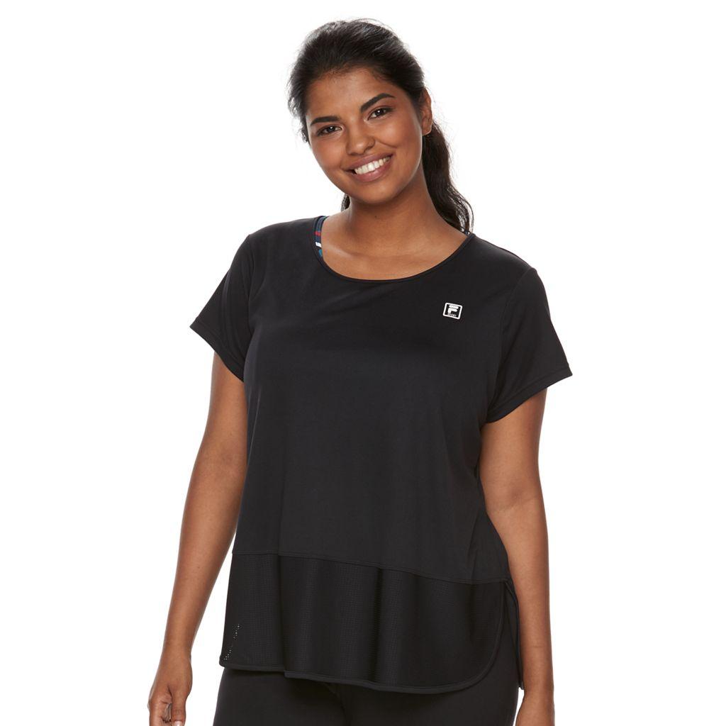 Plus Size Fila Sport® Mesh Inset Short Sleeve Tee