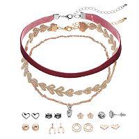 Mudd® Owl Choker Necklace & Heart Stud Earring Set