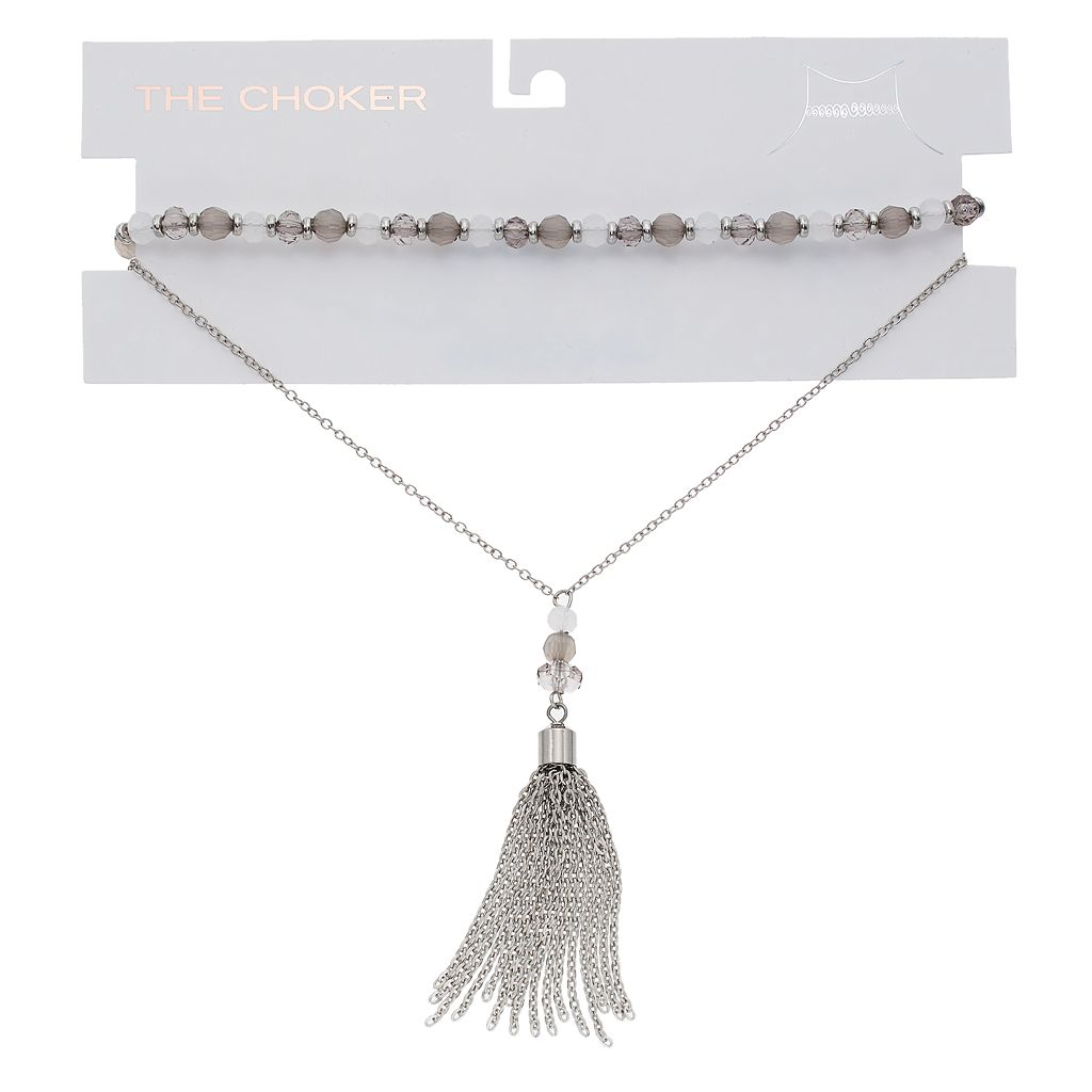 Layered Tassel & Beaded Choker Necklace