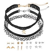 Mudd® Star Charm Choker Necklace & Cross Stud Earring Set