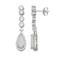 Sterling Silver Lab-Created Opal & White Sapphire Teardrop Earrings