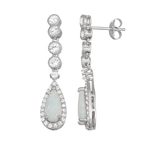 Sterling Silver Lab-Created Opal & White Sapphire Teardrop Earrings