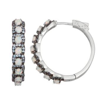 Sterling Silver Lab-Created Opal & Blue Spinel Hoop Earrings
