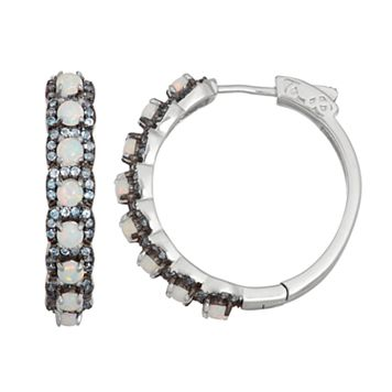 Sterling Silver Lab-Created Opal & Blue Spinel Hoop Earrings