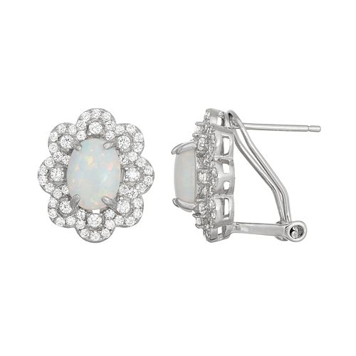 Sterling Silver Lab-Created Opal & White Sapphire Flower Stud Earrings