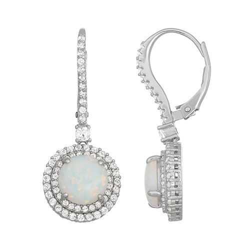 Sterling Silver Lab-Created Opal & White Sapphire Circle Drop Earrings