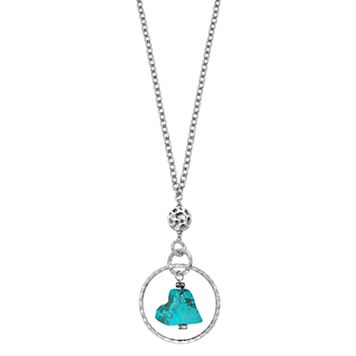 Simulated Turquoise Orbital Heart Necklace