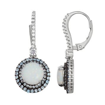 Sterling Silver Lab-Created Opal, Blue Spinel & White Sapphire Circle Drop Earrings