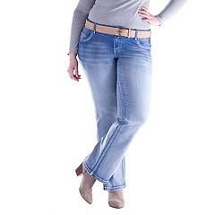 Juniors' Plus Size Amethyst Faded Slim Bootcut Jeans