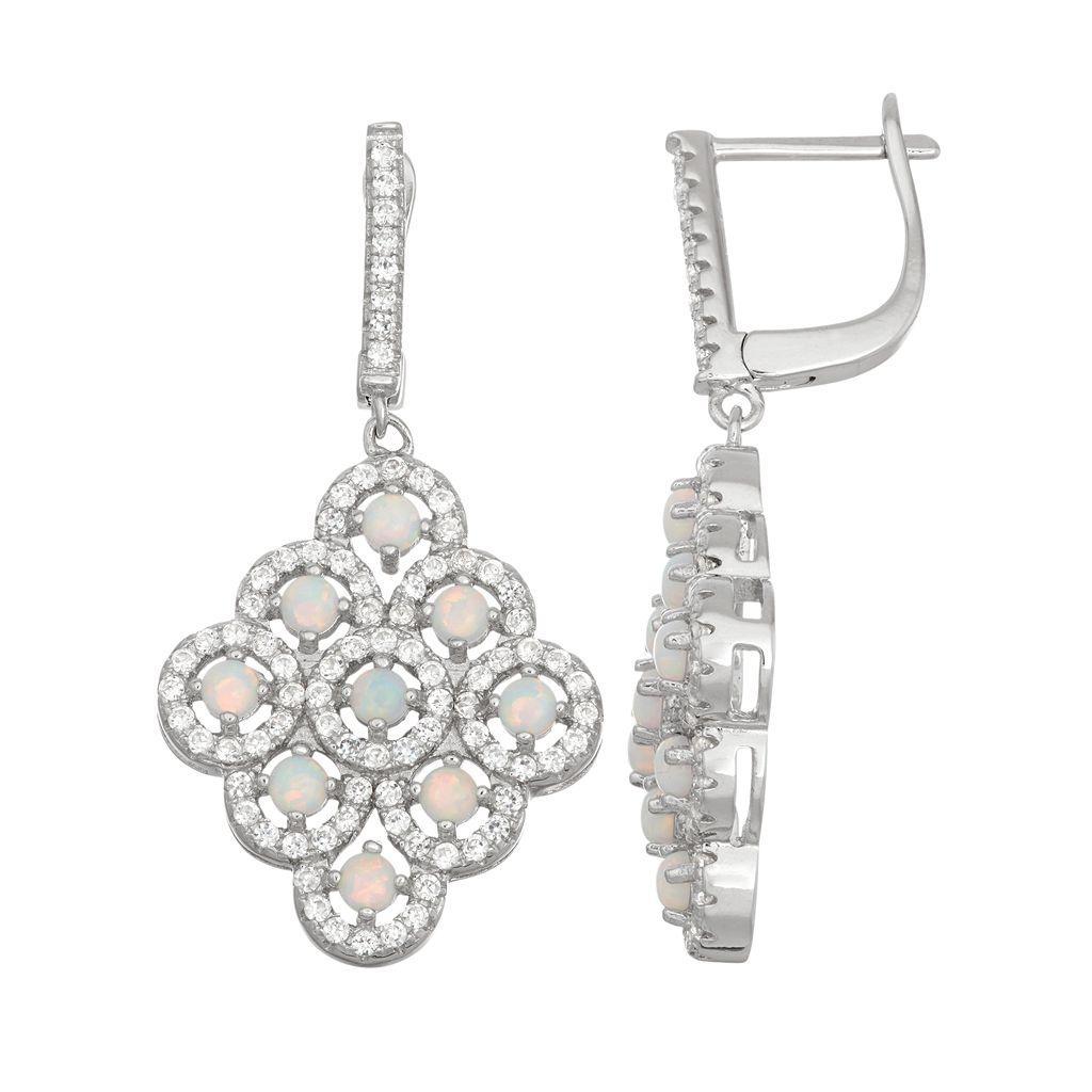 Sterling Silver Lab-Created Opal & White Sapphire Chandelier Earrings