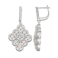 Sterling Silver Lab-Created Opal & White Sapphire Chandelier Earrings