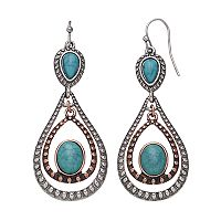 Mudd® Two Tone Simulated Turquoise Nickel Free Teardrop Earrings