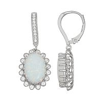 Sterling Silver Lab-Created Opal & White Sapphire Flower Drop Earrings