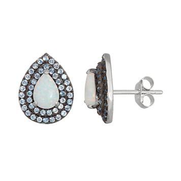 Sterling Silver Lab-Created Opal & Blue Spinel Teardrop Stud Earrings