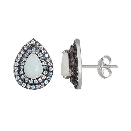 Sterling Silver Lab-Created Opal & Blue Spinel Teardrop Stud Earrings
