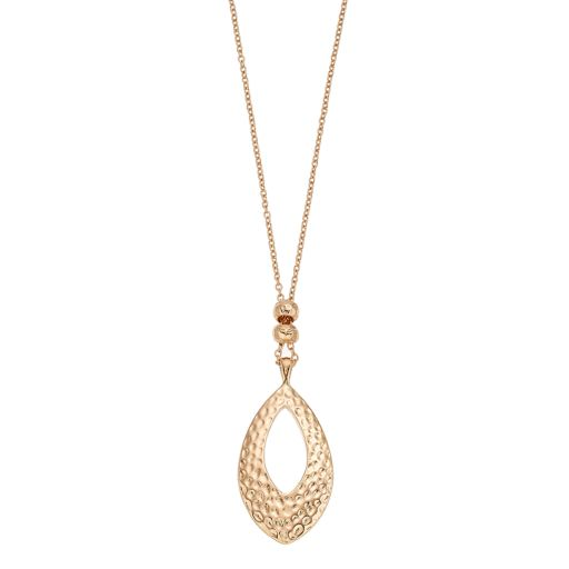 Long Hammered Cutout Marquise Pendant Necklace
