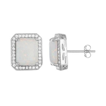 Sterling Silver Lab-Created Opal & White Sapphire Octagon Stud Earrings