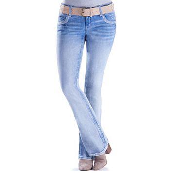 Juniors' Amethyst Embellished Slim Bootcut Jeans