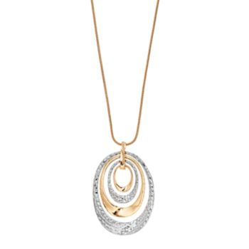Long Two Tone Hammered Oval Pendant Necklace
