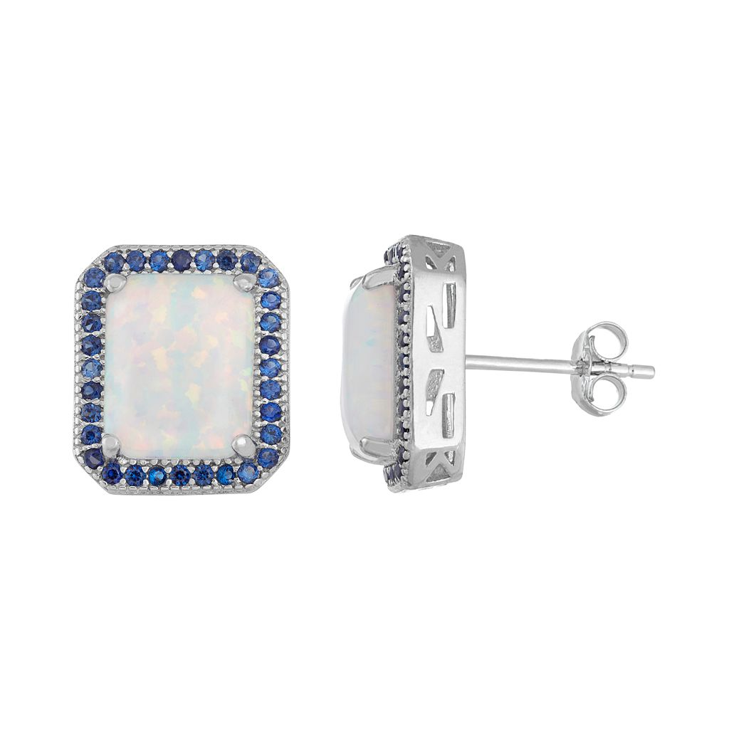 Sterling Silver Lab-Created Opal & Blue Sapphire Sapphire Octagon Stud Earrings