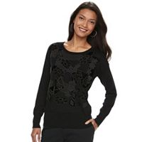 Women's Apt. 9® Velvet Applique Sweater