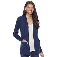 Juniors' SO® Rib Sleeve Open Front Cardigan