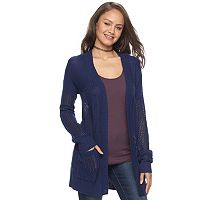 Juniors' SO® Drop Shoulder Open Stitch Cardigan