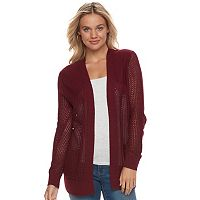 Juniors' SO® Open-Stitch Cardigan Sweater